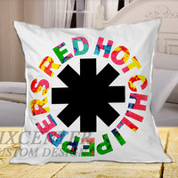 red hot chili peppers rock band logo on Square Pillow Cover