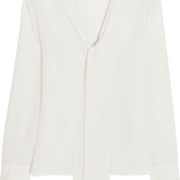 Iris and Ink Liliana pussy-bow silk crepe de chine blouse – 0% at THE OUTNET.COM