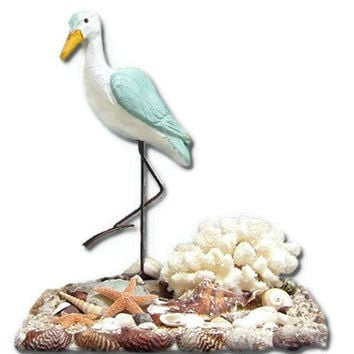 Seashell Art Sculpture -Sand Piper- Starfish- Coral -Beach Decor