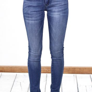 Mid-Rise Whiskered Stretchy Skinny Jeans {Med. Wash}