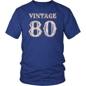 Men's Vintage 80 Tshirt 38th Birthday Gift for 38 Year Old