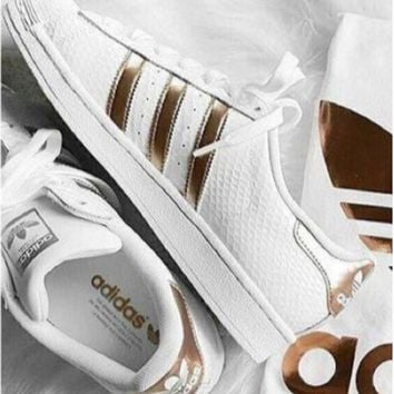 Tagre™ Adidas Fashion Shell-toe Flats Sneakers Sport Shoes golden