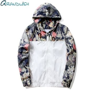 Mens Floral Hip Hop Slim Fit Flowers Pilot Jacket