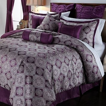 Highgate Manor Amelia 20-piece Comforter Set - Plum at HSN.com