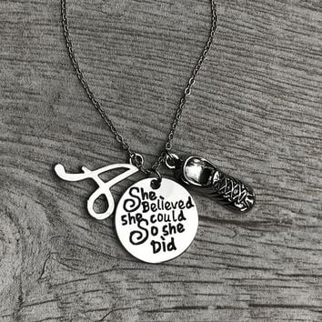 Personalized Runner She Believed She Could So She Did Charm Necklace