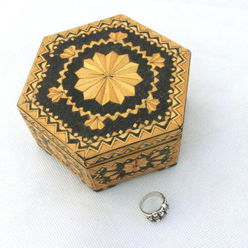 Vintage Wooden Hexagon Jewelry Box 70s