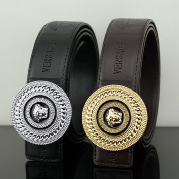 Versace Fashion Contracted Smooth Buckle Belt Leather Belt