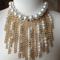 GIANT PEARL MULTI STRAND GOLD CHAIN BIB STATEMENT NECKLACE WITH EARRINGS NWT