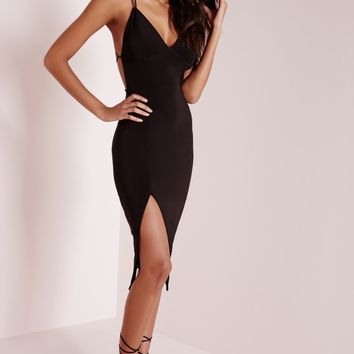 Missguided - Star Back Strap Detail Midi Dress Black