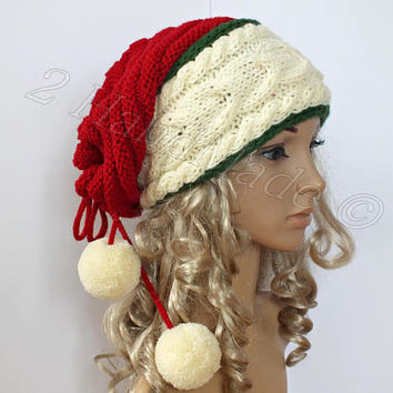 Santa Hat Adult Cable Knit Oversized Beret Baggy Neck Warmer Slouchy Christmas Santa Hat Transformer Beanie Chunky Tube Scarf Pom Poms