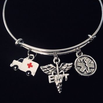 EMT Jewelry Medical Alert Caduceus Adjustable Bracelet Expandable Bangle Paramedic First Responder Ambulance One Size Fits All Gift