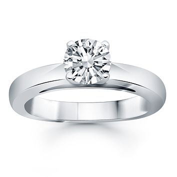 14K White Gold Classic Wide Band Cathedral Solitaire Engagement Ring