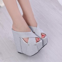 Sexy Cross High-Heel Slippers Wedges Shoes