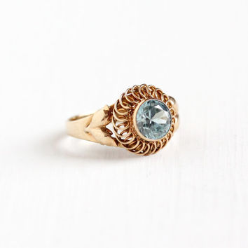 Vintage 10k Rose Gold Zircon Ring - Size 5 Art Deco 1940s Light Blue Round Cut Gemstone Fine Leaf and Flower Motif Jewelry, Church & Co.