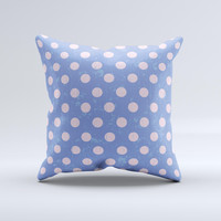 Vintage Scratched Pink & Purple Polka Dots  Ink-Fuzed Decorative Throw Pillow