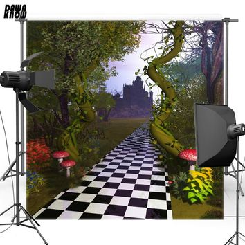 DAWNKNOW Vinyl Backdrop Alice in Wonderland Castle Mushroom Forest Polyester Photography Background For Baby Photo Studio F1754