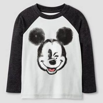Toddler Boys' Disney Mickey Mouse Long Sleeve T-Shirt - Silver