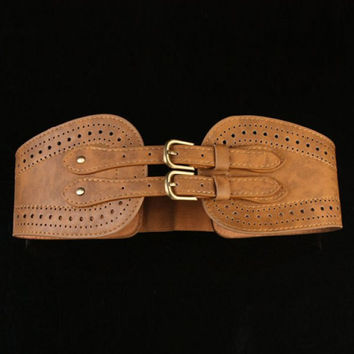 Chic Pin Buckle Design Openwork PU Elastic Belt For Women