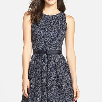 Women's Eliza J Belted Lace Fit & Flare Dress,
