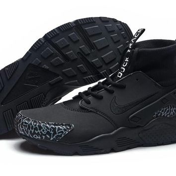 KUYOU N290 Nike Air Huarache High Duck Track Running Shoes Black
