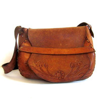 vintage brown tooled leather purse with flowers