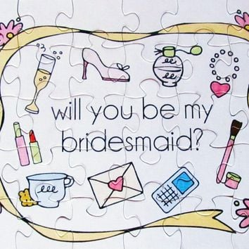 Will You Be In My Wedding Puzzle.  Ask your Bridesmaid, Flower Girl (8x10)