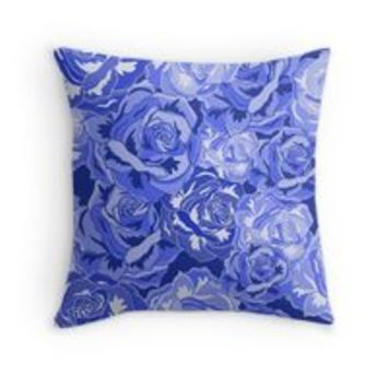 'BLUE ROSES SEXLESS FLORAL PATTERN' Vinilo y funda para iPhone by Winston Casco