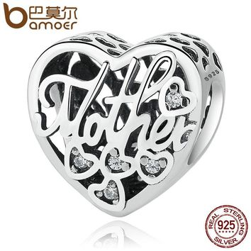 BAMOER 100% 925 Sterling Silver Openwork MOTHER & SON BOND CHARM Beads fit Bracelets & Bangles DIY Jewelry PSC083