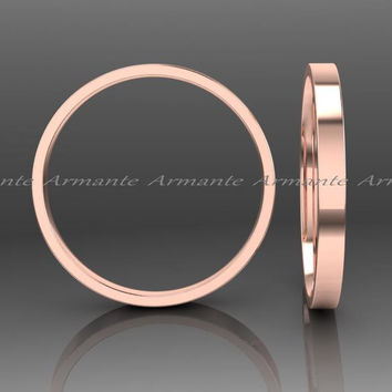 Womans 14k Rose Gold Wedding Band, Solid Gold Wedding Band, Hand Made Wedding Band, Stuck Band, 2.00mm Wide