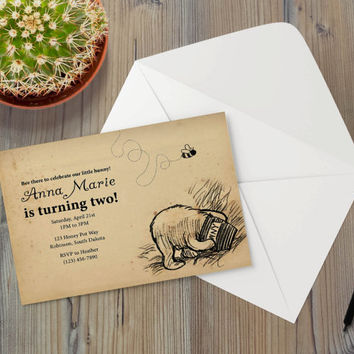 Instant Download - Classic Vintage Illustration Pooh Bear Winnie Honey Pot Bumble Bee Event Party Invitation Template