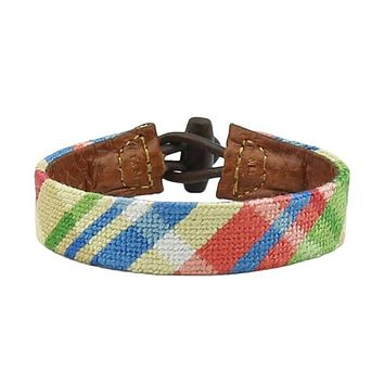 Summer Madras Needlepoint Bracelet by Smathers & Branson