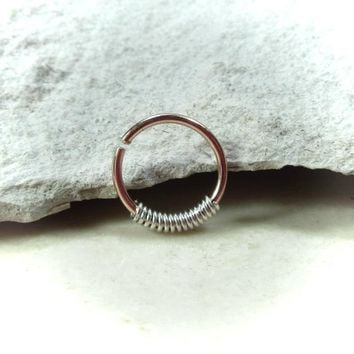 Pink Gold Nose Ring with Silver Wrap