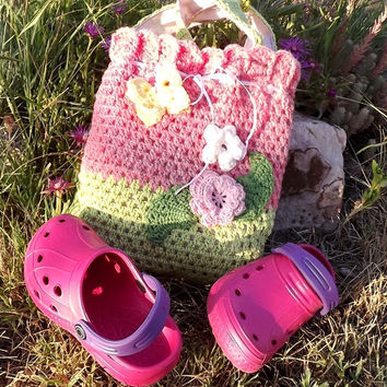 Pink Crocheted bag #Easter bag Bag for Daughter #OOAK #Crocheted summer bag #Lunch bag