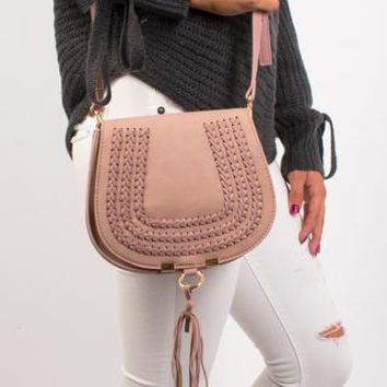 Chelsea Braided Cross body Bag - Ash Pink