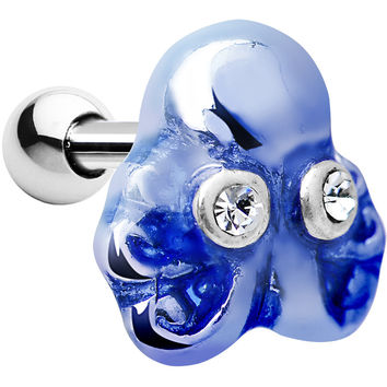 Silver 925 Clear Gem Blue Octopus Cartilage Tragus Earring