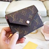 LV Louis Vuitton High Quality Leather Pink Buckle Wallet Purse