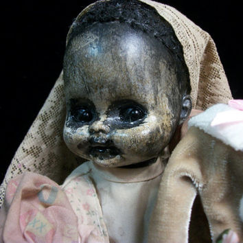 Creepy Christmas Prop Altered Art Doll Holiday Horrible Patti Cakes Merry Monster OOAK Goth Winter Weird Oddity Ghostly Ghoul /L.Cerrito