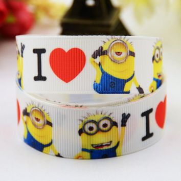 "7/8"" 22mm Minions Cartoon Printed grosgrain ribbon party decoration satin ribbons Hairbow sewing supplies OEM 10 Yards X-00554"