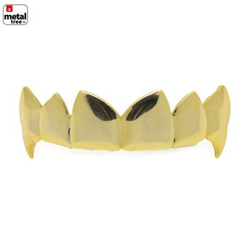 Jewelry Kay style Hip Hop Vampire Plain 14k Gold Plated Top Teeth Grillz Fangs Dracula L055 G