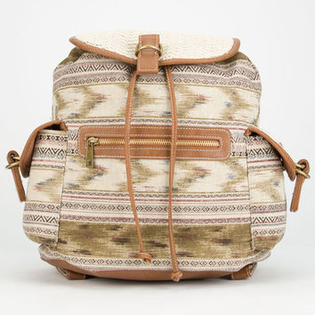 Crochet Trim Ethnic Print Backpack Natural One Size For Women 25184942301