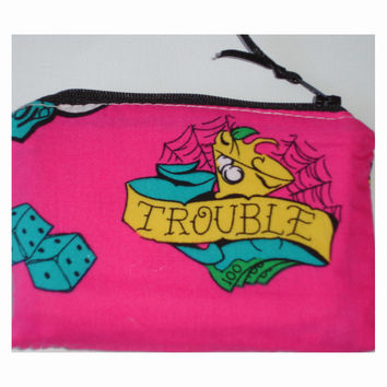Trouble Tattoo Zipped Coin Purse
