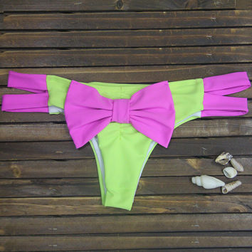 Pink and Green Bow Tie Strappy Bottom