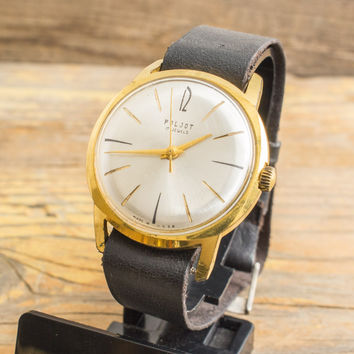 Vintage Poljot mens watch gold plated russian watch ussr ccp soviet watch