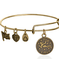 Alex and Ani style virgo pattern pendant charm bracelet