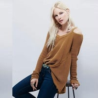 Street Style Bare Shoulder Loose Long Sweater