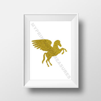 Pegasus Wall Art,  Animal Silhouette, Little Pony, Fantasy Theme Nursery, Digital Download, Fairy Tale Decoration, Printable Wall Art
