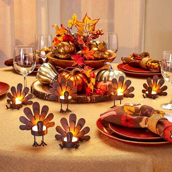 Set of 6 Turkey Tea Light Candle Holders Metal Rustic 3 Sitting 3 Standing