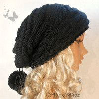 Slouchy Beanie Slouch Hats Oversized Baggy Cabled Hat Neck Warmer womens Fall Winter Accessory Black Hand Made Knit