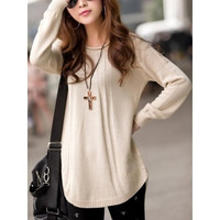 Beige Knitting Womens Long Sleeves Long Style Loose Sweater One Size MM0214be = 1920054916