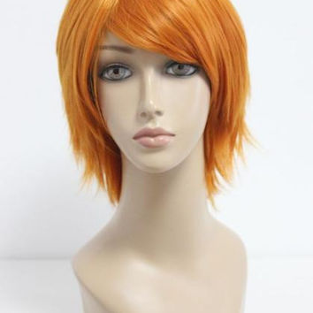 35cm The Prince of Tennis-Wakato Hiroshi high quality Cosplay Anime Short Orange Wig,Colorful Candy Colored synthetic Hair Extension Hair piece 1pc WIG-206A